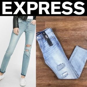 Express Mid Rise Distressed Original Skinny Jeans